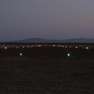 View down the runway with new lights on.